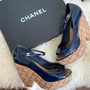 Chanel CC Patent Leather Mary Jane Peep Toe Wedges
